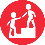 A Person Helping Another Person Climb Stairs Icon